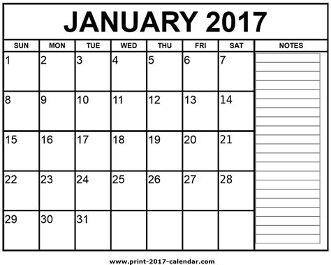 printable calendar jan 2017 printable january 2017 calendar