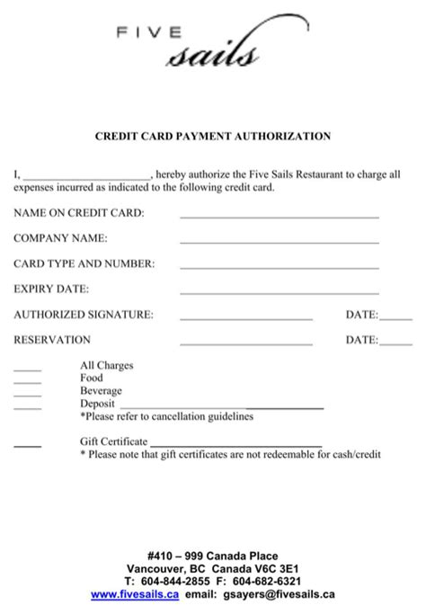 template for credit card payment credit card payment authorization template for