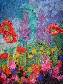 impressionistic style quilt floral and