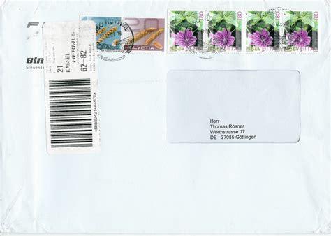 Post Schweiz Brief Einschreiben Philaseiten De Moderne Privatpost Deutschland Weiterleitungen Aus Dem Ausland