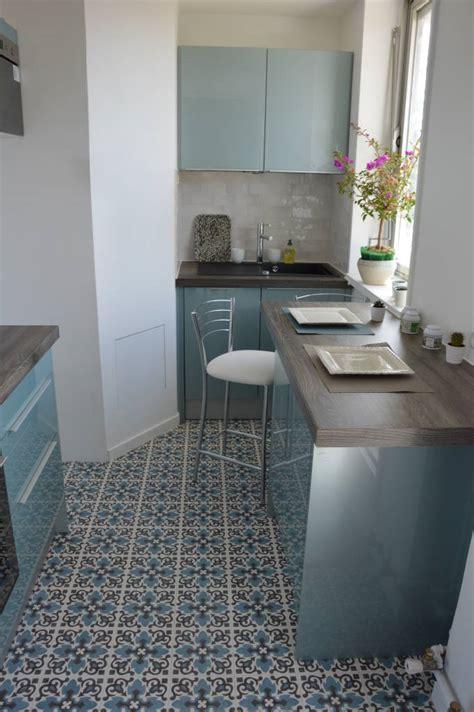 carreaux de cuisine cuisine bleu acier vintage carreaux de ciment