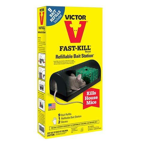 Fast Tourniquet Poison With Snap fast kill 174 refillable bait station to kill mice in walls