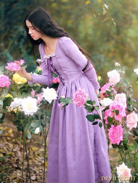 elegant purple lace  long sleeves medieval inspired dress devilnightcouk