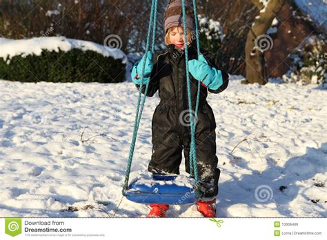 winter swing child swing winter royalty free stock images image 13306489
