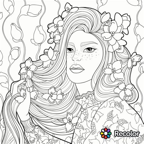 Stunning Girl With Flowers In Her Hair Coloring Page With Coloring Pages Recolor