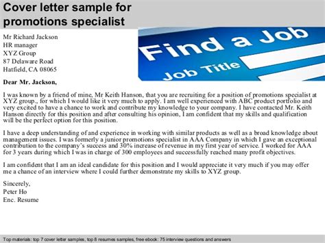 Product Specialist Cover Letter by Promotions Specialist Cover Letter