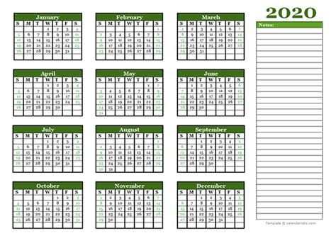 yearly calendar  blank notes  printable templates