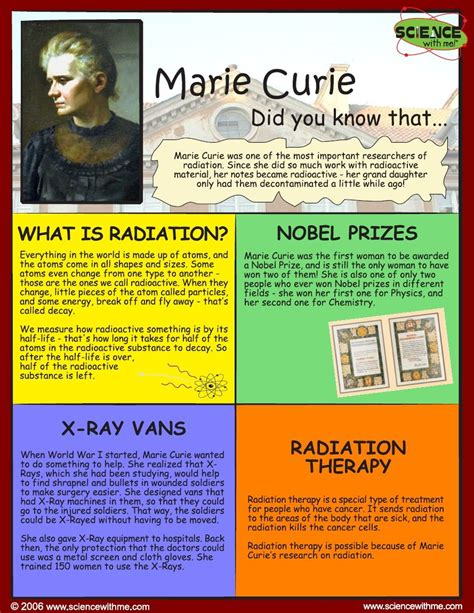 marie curie biography for students marie curie handout history of science scientists