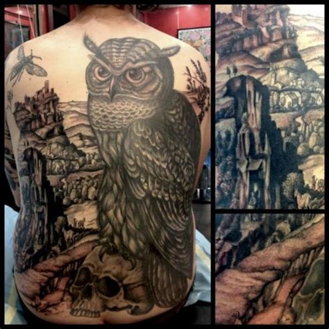 tattoo oriental paisagem back owl landscape tattoo by tin tin tattoos