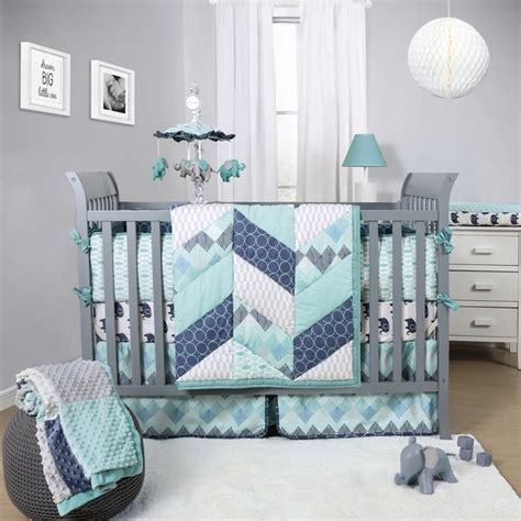crib bedding sets for boys baby 3 blue grey nursery