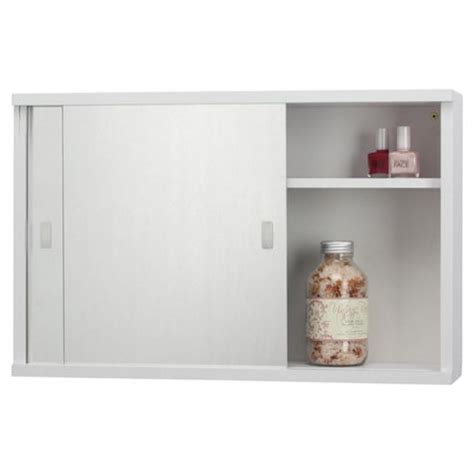 sliding door bathroom cabinet white buy tesco double sliding mirror door white cabinet from