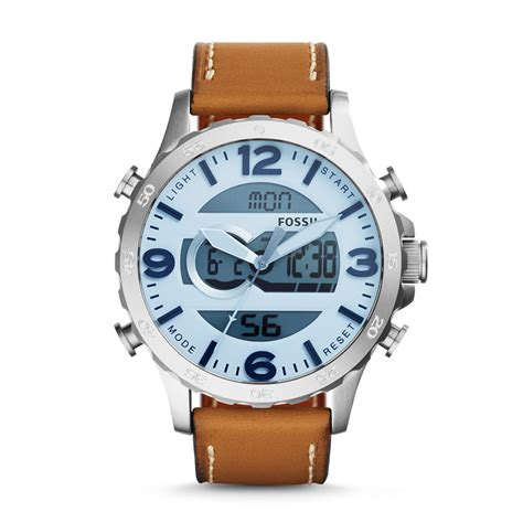Fossil Dual Time Brown Leather Fs5356 Jam Tangan Pria fossil nate analog digital leather light brown
