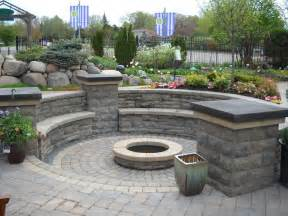 Backyard Creations Circular Fireplace Brick Patio With Pit Design Ideas Pit A