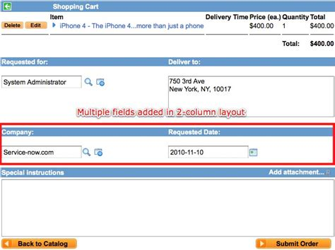 cart layout servicenow adding fields to the service catalog checkout screen
