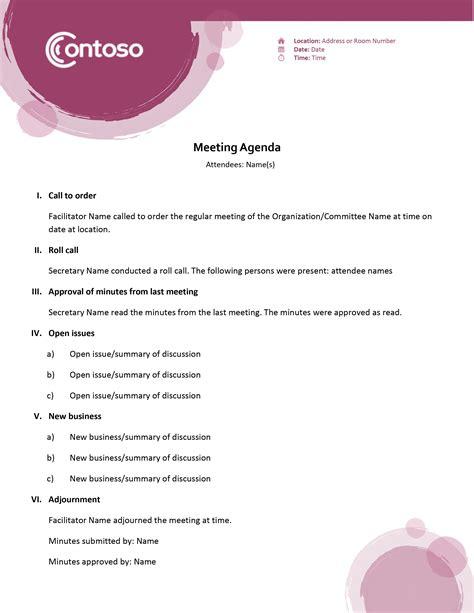 6 minute meeting format cook resume