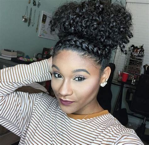 twist in the front curls in the back top bun twist natural hair black hairstyles