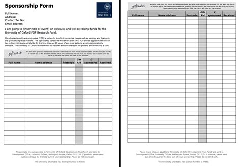 sponser form template free sponsorship form template http resumesdesign