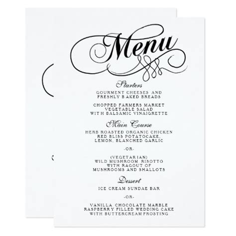 wedding menu sles templates black and white wedding menu templates card zazzle