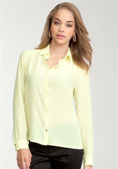 Blouse Lime bebe doubled up silk button up blouse in yellow