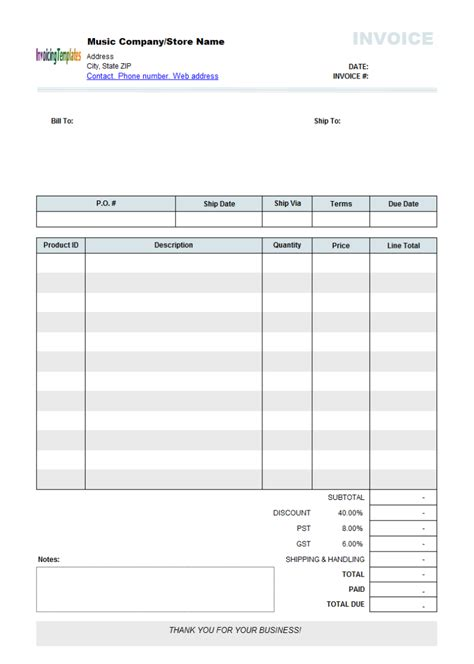 invoice templates printable free best photos of editable invoice template pdf