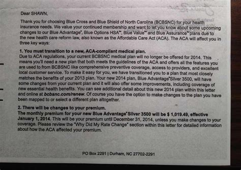 Health Insurance Increase Letter To Employees Read Your Obamacare Stories