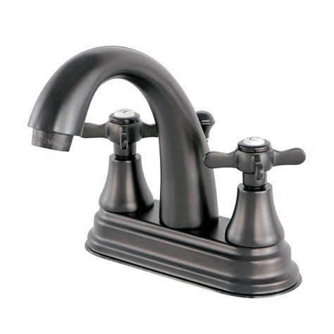 Kingston Brass English Cross 4 In Centerset 2 Handle High Cross Handle Bathroom Faucet
