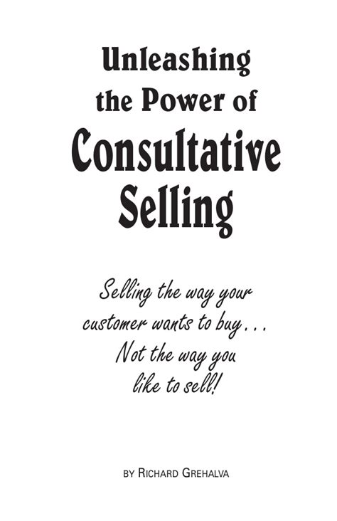 unleashing the power of consultative selling ebook