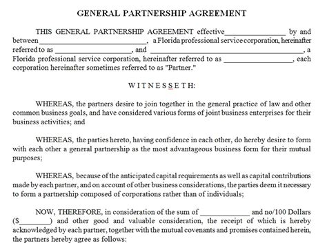 Business Contract Template Partnership Contract Template Word