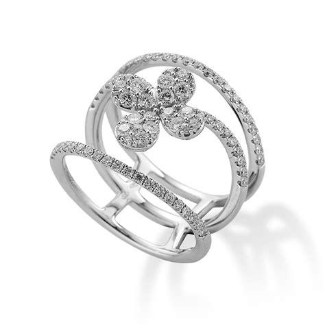 flower design diamond ring 18ct white gold triple row diamond flower design ring from