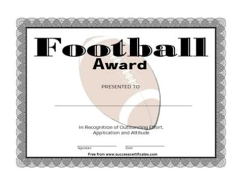 certificate for football winner football award one
