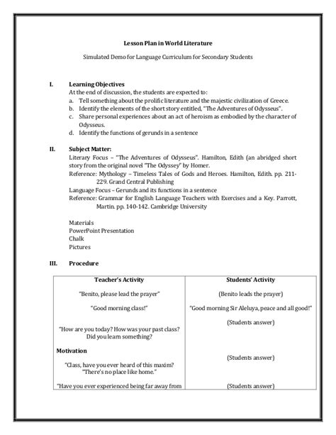 lesson plan template secondary a detailed lesson plan in world literature