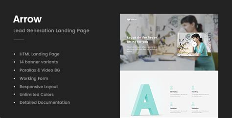 Arrow Lead Generation Landing Page Download Nulled Themes Lead Generation Page Template