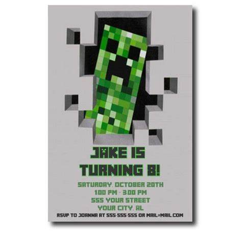 minecraft birthday party invitation printable invitations