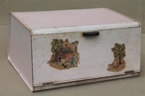 shabby chic pink vintage metal bread box for country