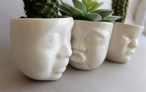 Face Planters | ceramic succulent planter set small pot face planters head