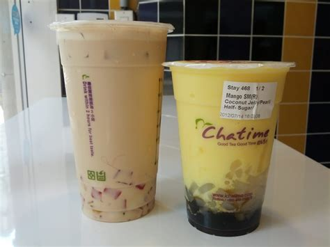 Mango Smoothie Chatime large lychee milk tea with rainbow jelly regular mango smoothie with qq yelp