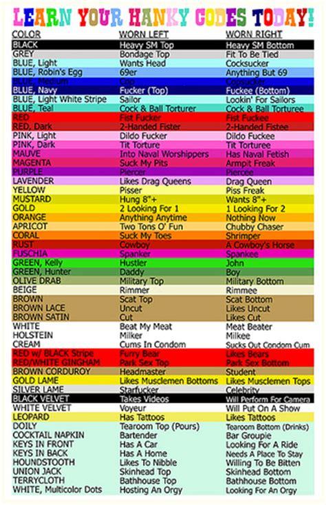 bandana color meaning hanky code sheet marys atlanta flickr