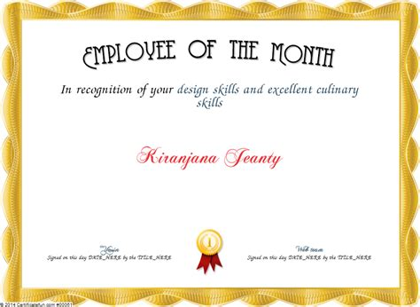 employee of the month certificate template free quotes