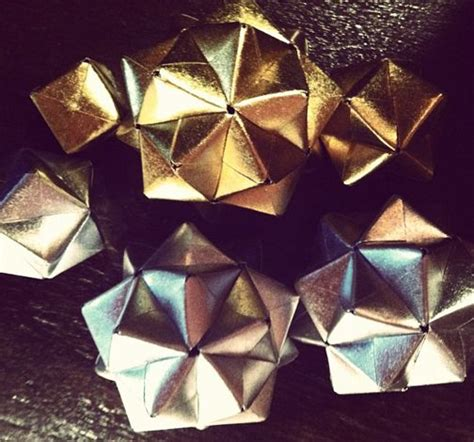 silver gold diy modular origami christmas ornaments