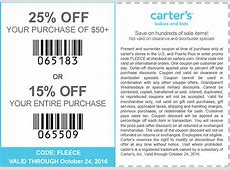 Carters Coupons - 20% off $40 at Carters, or online via ... Restaurant Promo Code October 2016