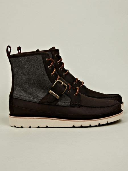 polo ralph mens saddleworth boot in brown for