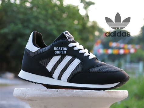 jual sepatu sport adidas boston hitam putih kets
