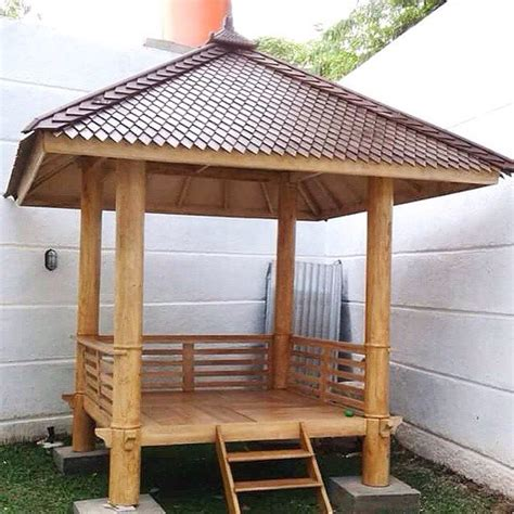 Gazebo Dengan Kayu Kelapa Gzb0002 gazebo minimalis atap sirap kayu kelapa cahaya mebel jepara