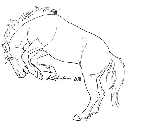 coloring pages of bucking horses bucking horse lineart by kholran on deviantart