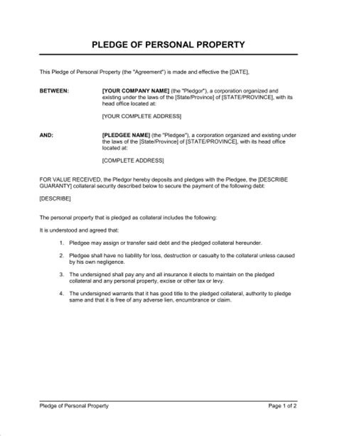 Financial Pledge Letter Pledge Of Personal Property Template Sle Form Biztree