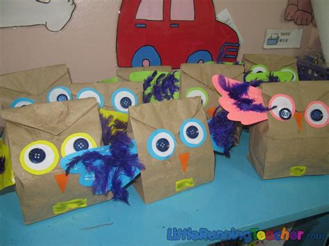 Paper Bags Crafts - paper bag owl craft running