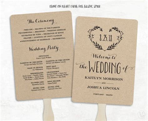 wedding fans printable wedding program template wedding