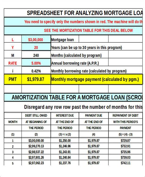 Amortization Table Spreadsheet by Sle Amortization Spreadsheet 7 Exles In Word Pdf