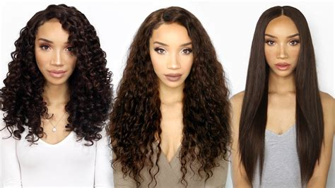 same haircut straight and curly versatile lace wig three textures in one curly wavy