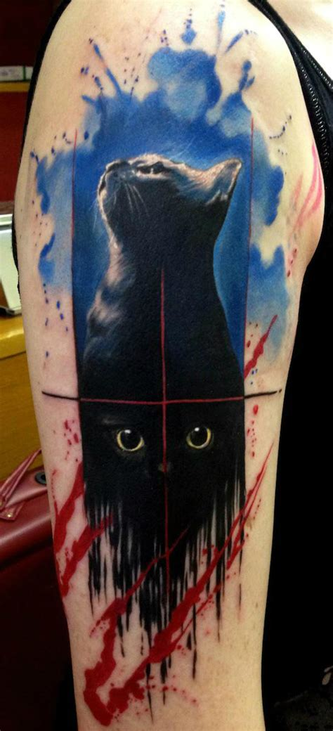 paint flowed black cat trash polka aquarelle tattoo by
